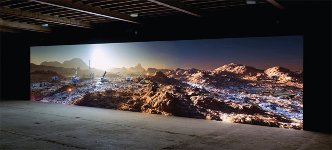 Kelly Richardson, Mariner 9, 2012, three-channel HD video, color, sound, 20 minutes.