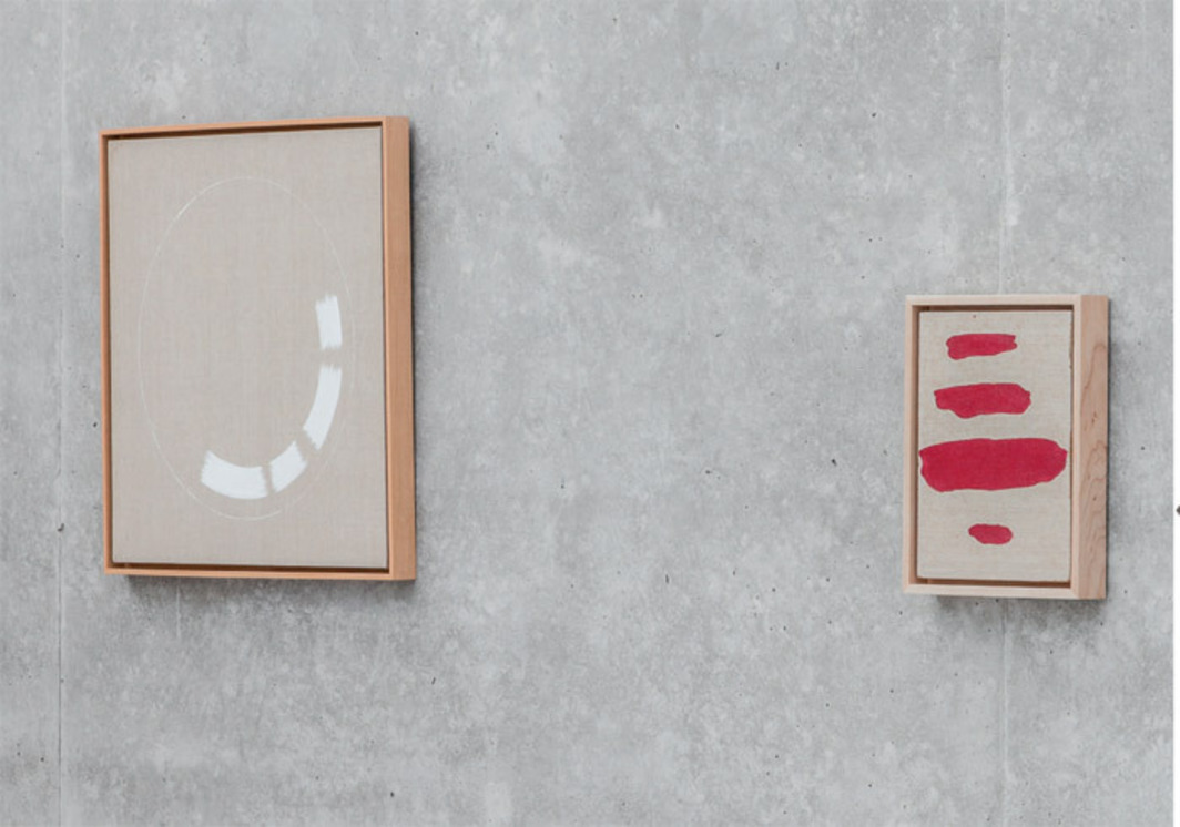 "View of ""Ed Ruscha,"" 2012. From left: In God We Trust, 1994; You Dirty Rotten Bitch, 1997."