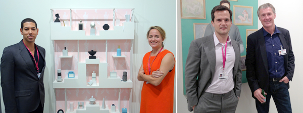 Left: Dealers Casey Kaplan and Loring Randolph. (Photo: Frank Exposito) Right: Dealers Ales Ortuzar and David Zwirner (right). (Photo: Allese Thomson)