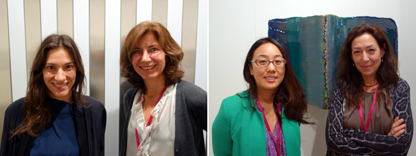 Left: Dealers Christine Messineo and Stefania Bortolami. Right: Dealers Jennifer Loh and Shaun Caley Regen. (Photos: Frank Exposito)
