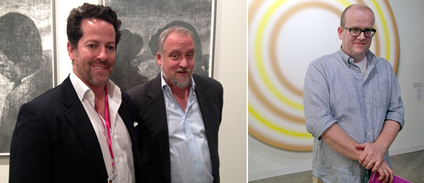 Left: Dealers Tim Blum and Jeff Poe. Right: White Columns director Matthew Higgs. (Photos: Allese Thomson)