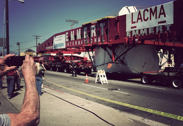 Michael Heizer's Levitated Mass being transported by truck to the Los Angeles Country Museum of Art, 2012. (Photo: Cathy Cole)