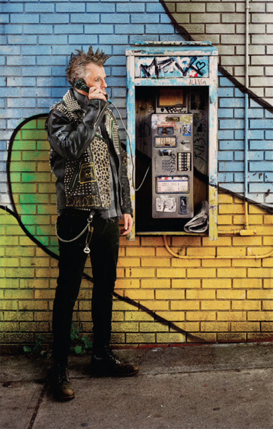 "Rodney Graham, Old Punk on Pay Phone, 2012, painted aluminum light box with transmounted chromogenic transparency, 92 5/8 x 59 5/8""."