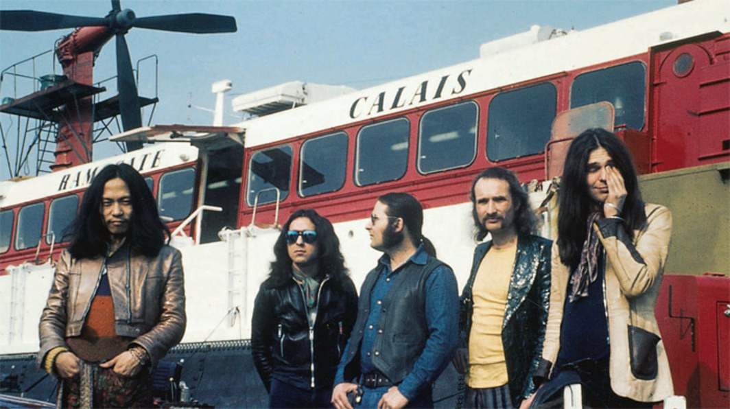Can, ca. 1972. From left: Damo Suzuki, Jaki Liebezeit, Irmin Schmidt, Holger Czukay, Michael Karoli. Photo: Hildegarde Schmidt.