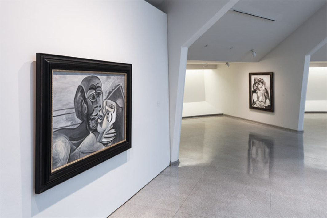 "View of ""Picasso Black and White,"" 2012–13. Left: Le Baiser (The Kiss), 1969. Right: Le Baiser (The Kiss), 1969. Photo: David Heald."