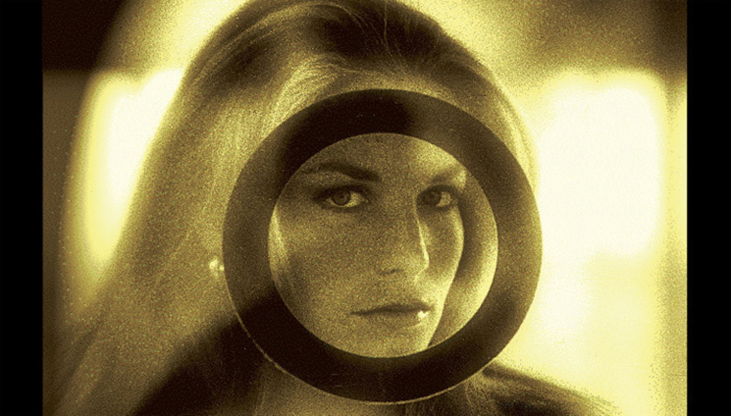Photograph of Alexandra Stewart taken by Chris Marker circa 1964 during the shooting of Pierre Kast's La Brûlure de mille soleils (The Burning of a Thousand Suns), 1965, as it appeared in Ouvroir, Marker's virtual exhibition space, Second Life, 2008–12.
