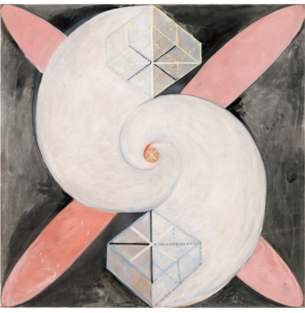 "Hilma af Klint, The Swan, No. 21, Group IX/SUW, 1915, oil on canvas, 60 1/4 x 60 1/4""."