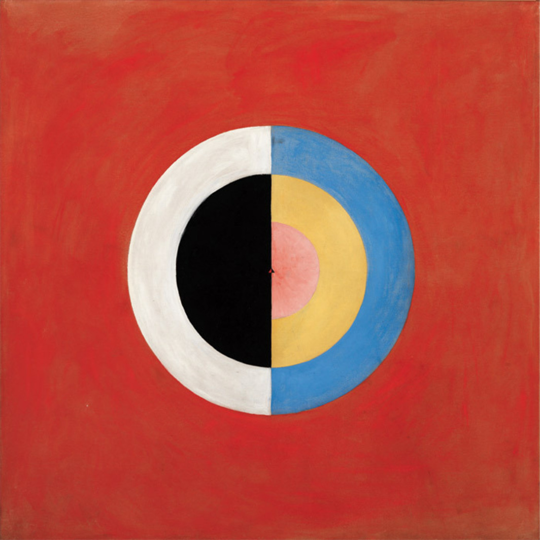 "Hilma af Klint, The Swan, no. 17, Group IX/SUW, 1915, oil on canvas, 59 1/4 x 59 1/2""."