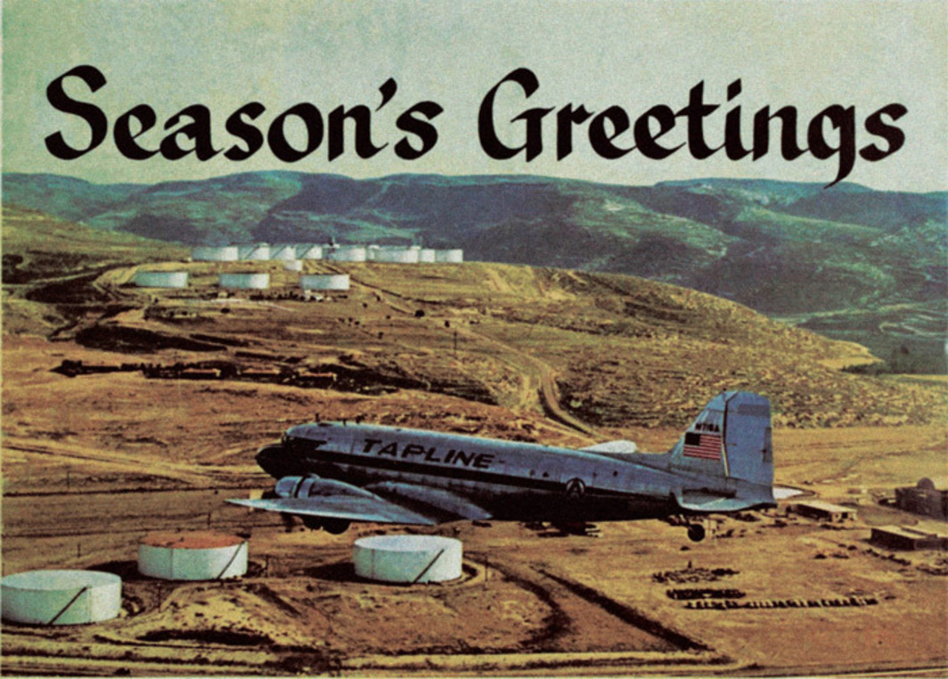 "Postcard for Trans-Arabian Pipeline Company (Tapline), 1960. Found material for Rayyane Tabet's series ""The Shortest Distance Between Two Points,"" 2007–."