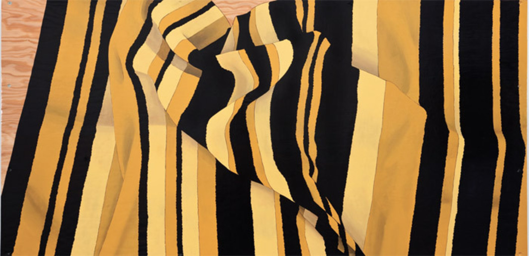 "Andrea Zittel, Prototype for Billboard: A-Z Cover Series 1 (Gold and Black Stripes), 2012, enamel on plywood, 36 3/8 x 72 3/8 x 2""."