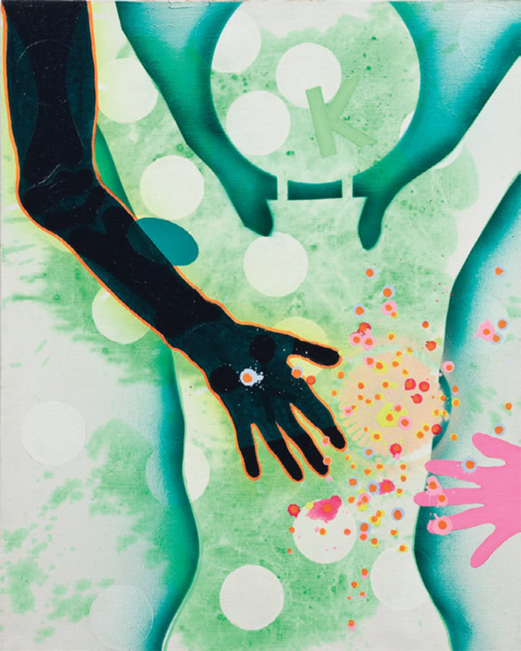 "Kiki Kogelnik, The Human Touch, ca. 1965, oil and acrylic on canvas, 30 x 24""."