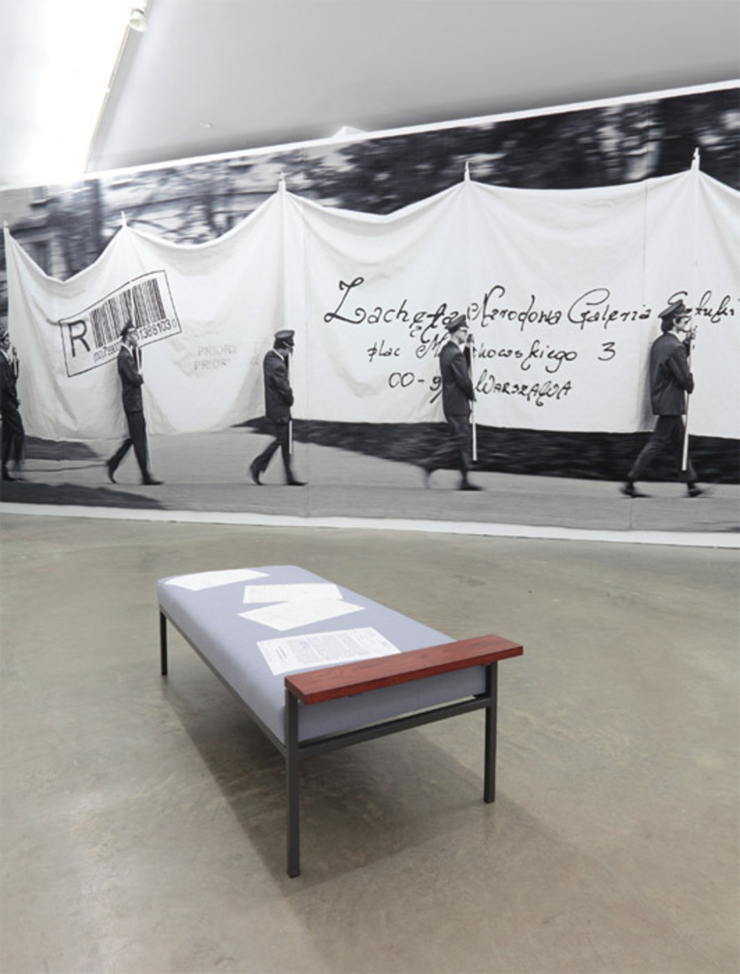 "View of ""Goshka Macuga,"" 2012. Foreground: Daybed for the Spirit of Polish Culture, 2012. Background: The Letter, 2012."