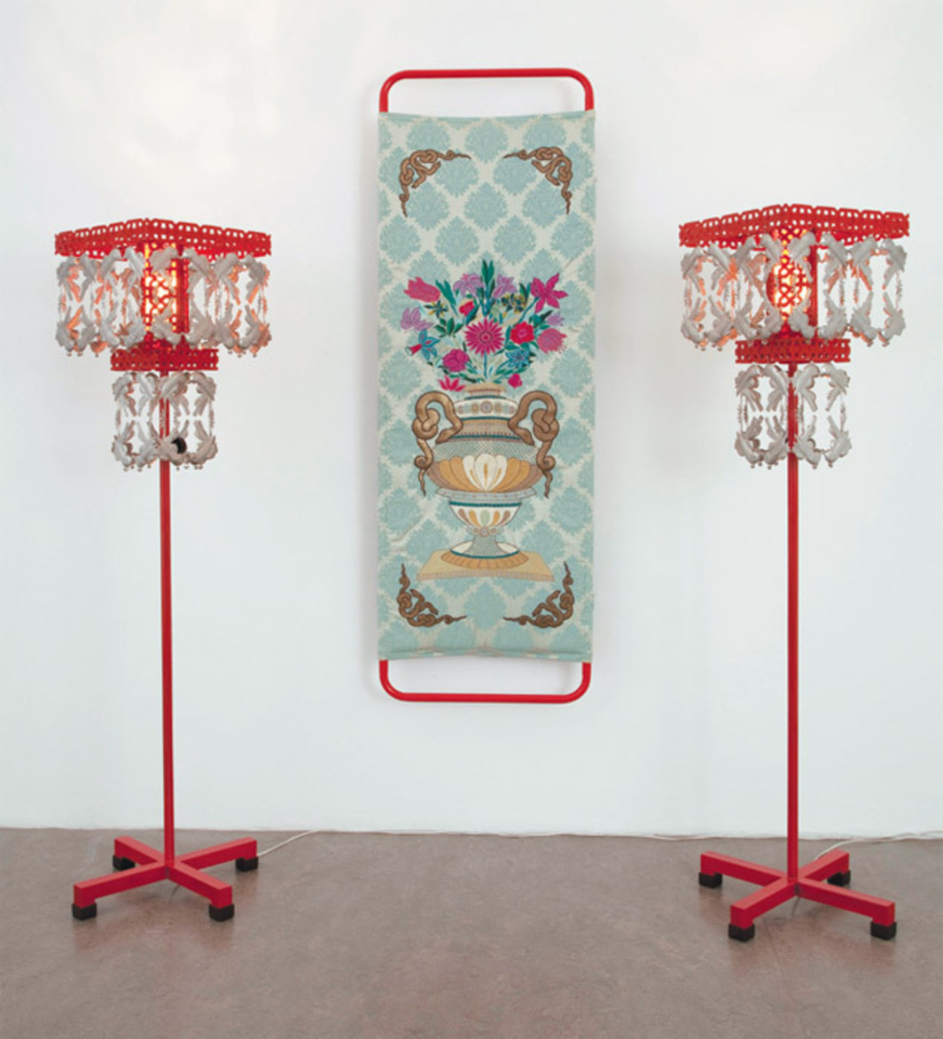 "Adeela Suleman, Prying in her richly decorated room I, 2012, embroidery on canvas, iron, paint, lamps, 89 1/2 x 78 3/4 x 33 1/2""."