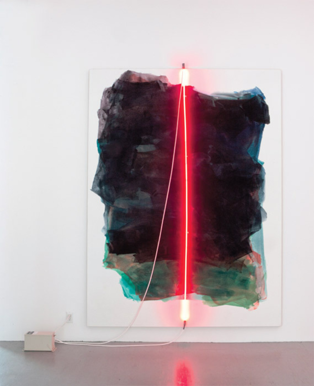 "Mary Weatherford, Empire, 2012, Flashe paint and neon on linen, 105 x 79""."
