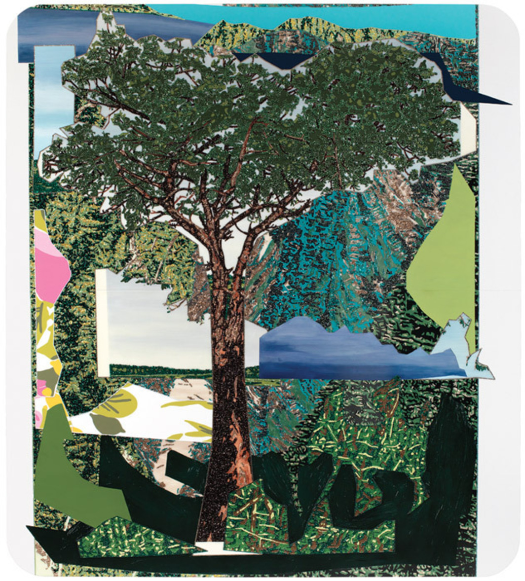 "Mickalene Thomas, Landscape with Tree, 2012, rhinestones, acrylic, oil, and enamel on wood panel, 100 x 90 x 2""."