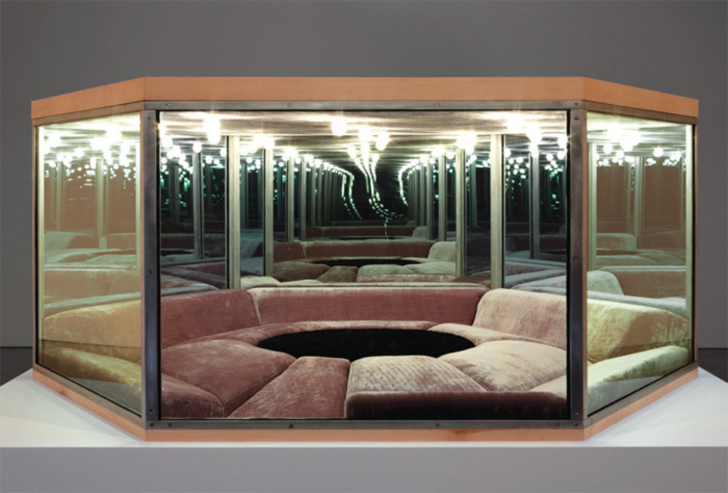 "Paul Pfeiffer, Playroom, 2012, steel, glass one-way mirror, wood, MDF, fabric, upholstery, lights, 62 1/4 x 72 x 30""."