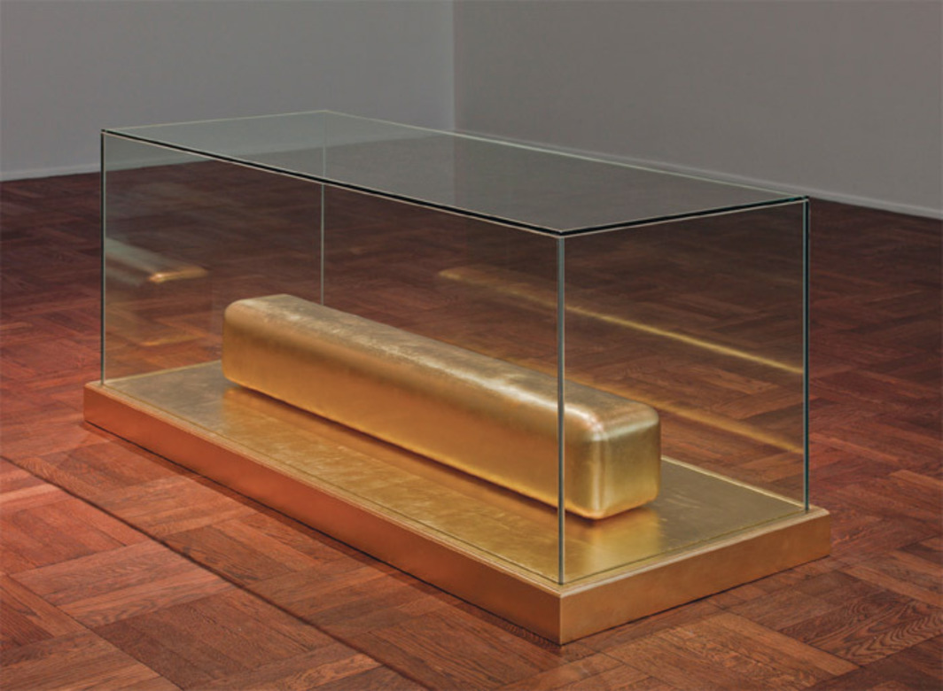 "James Lee Byars, The Monument to Cleopatra, 1988, gilded marble, gilded wood, glass, 27 1/4 x 25 3/4 x 59 1/4""."