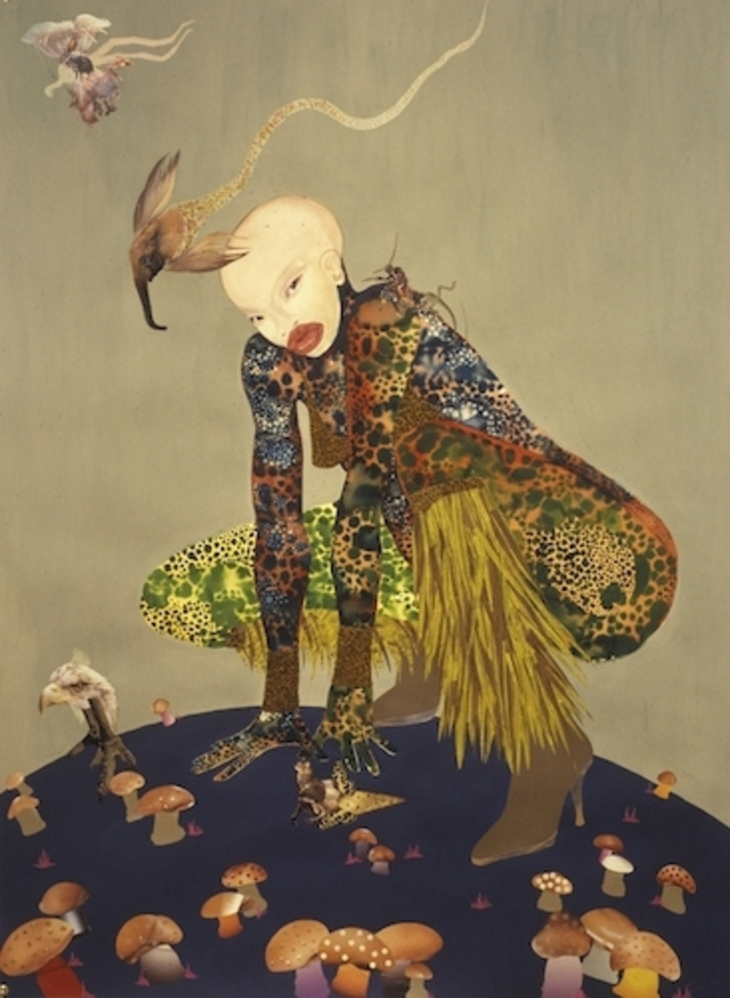 "Wangechi Mutu, Riding Death in My Sleep, 2002, ink collage on paper, 60 x 44""."