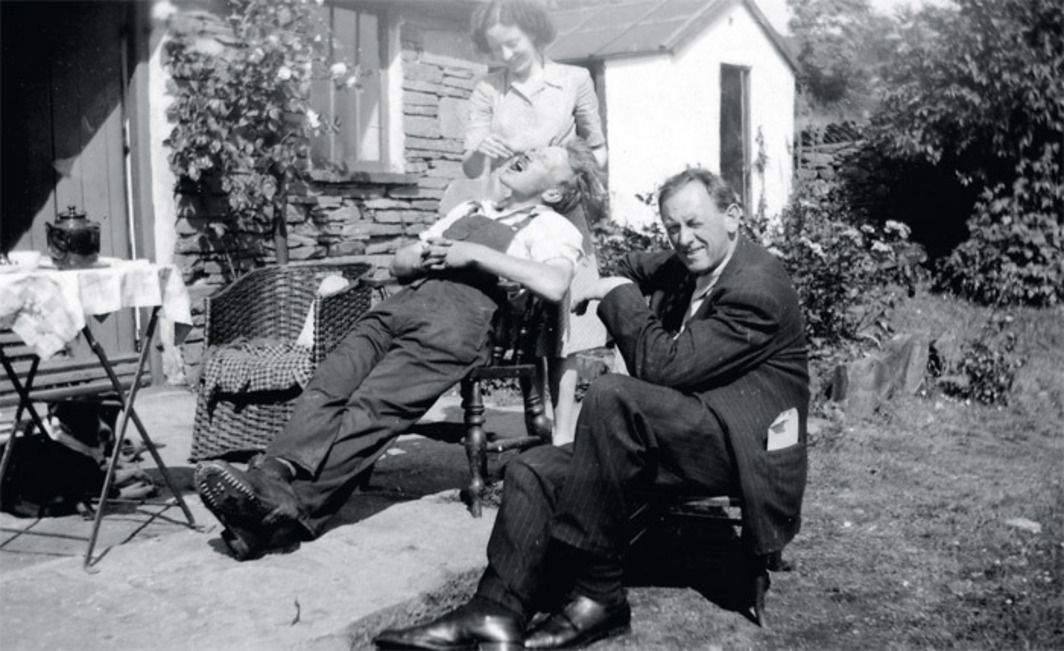 Kurt Schwitters (right) with Edith Thomas and Bill Pierce at Cylinders Farm, Ambleside, UK, ca. 1947.