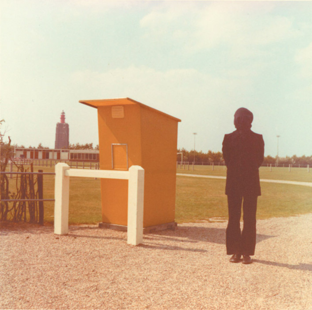 "Bas Jan Ader, Untitled (Westkapelle, The Netherlands) (detail), 1971/2003, two C-prints, each 16 x 16""."