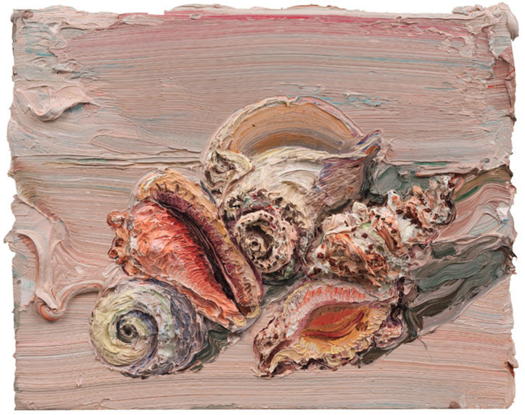 "Allison Schulnik, Pink Shells, 2012, oil on canvas and board, 16 x 20""."