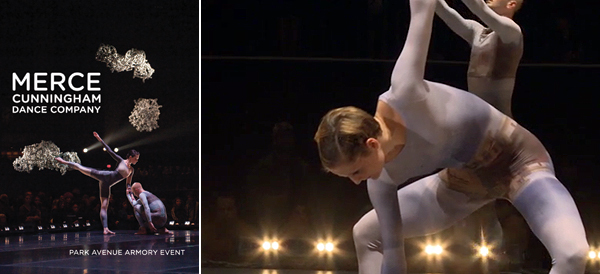 Left: Cover for Cunningham Dance Foundation, Park Avenue Armory Event, 2012. Photo: Stephanie Berger. Emma Desjardins and Brandon Collwes. Right: Cunningham Dance Foundation, Park Avenue Armory Event, 2012, digital video, color, sound, 53 minutes. Andrea Weber and Brandon Collwes.