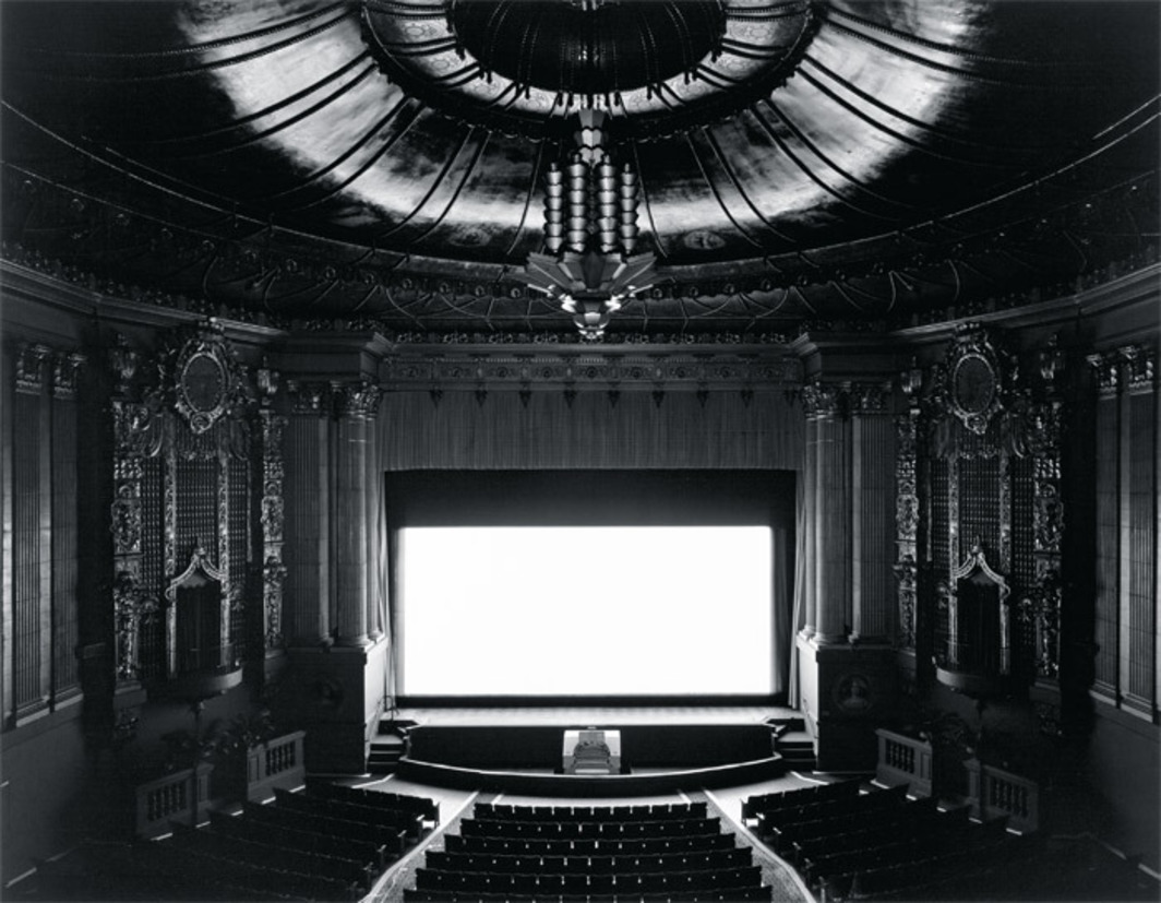 "Hiroshi Sugimoto, Castro Theater, 1992, gelatin silver print, 16 5/8 x 21 3/8"". From the series ""Theaters,"" 1976–2001."