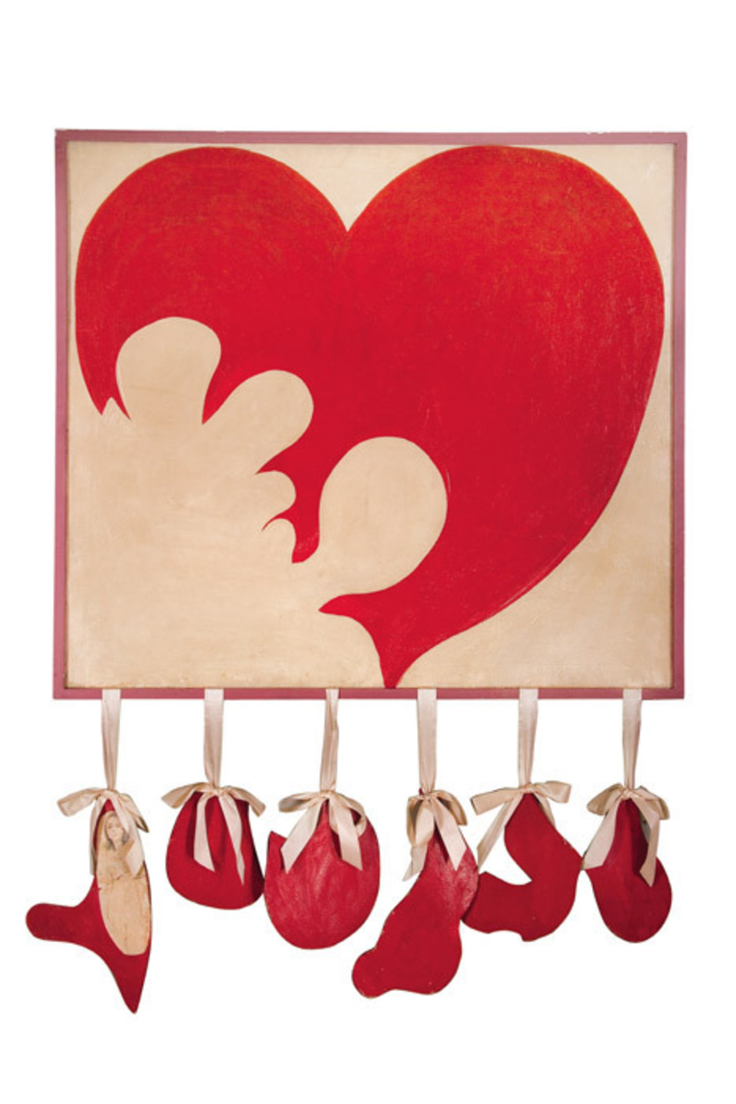 "Delia Cancela, Corazón destrozado (Destroyed Heart), 1964, oil on canvas, wood, silk, ink on paper, 59 x 47 1/4""."