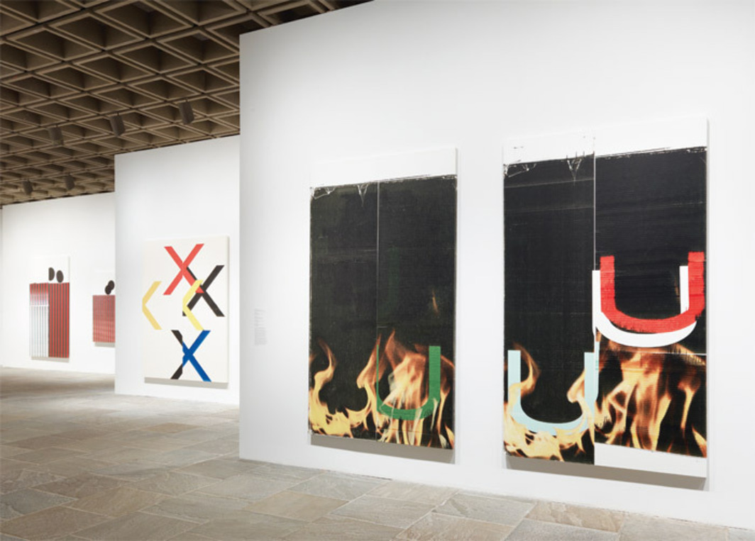 "View of ""Wade Guyton OS,"" 2012–13. From left: Untitled, 2006; Untitled, 2005; Untitled, 2010; Untitled, 2006; Untitled, 2006."
