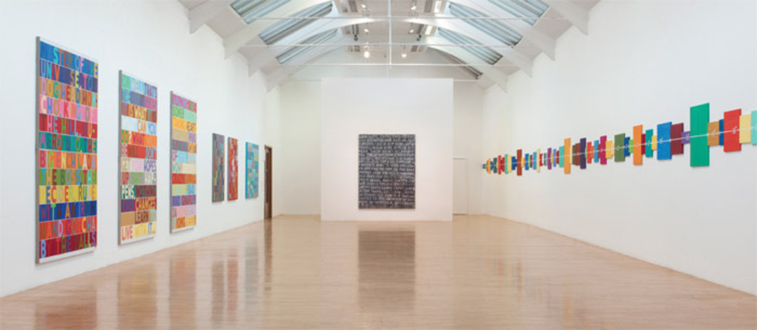"View of ""Mel Bochner: If the Colour Changes,"" 2012. From left: Master of the Universe, 2010; Oh Well, 2010; Amazing!, 2011; No, 2009; Nonsense, 2009; Contempt, 2005; Obsolete, 2007; Event Horizon, 1998. Photo: Stephen White."