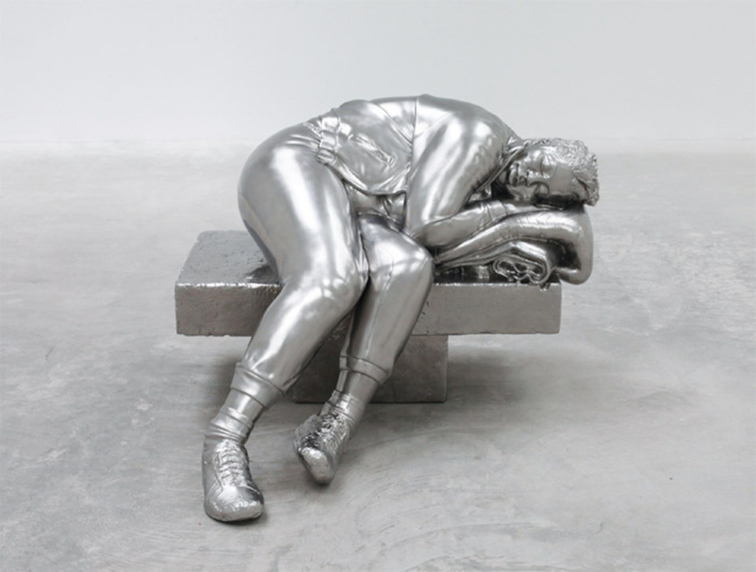 "Charles Ray, Sleeping Woman, 2012, solid stainless steel, 35 1/2 x 44 1/2 x 50""."
