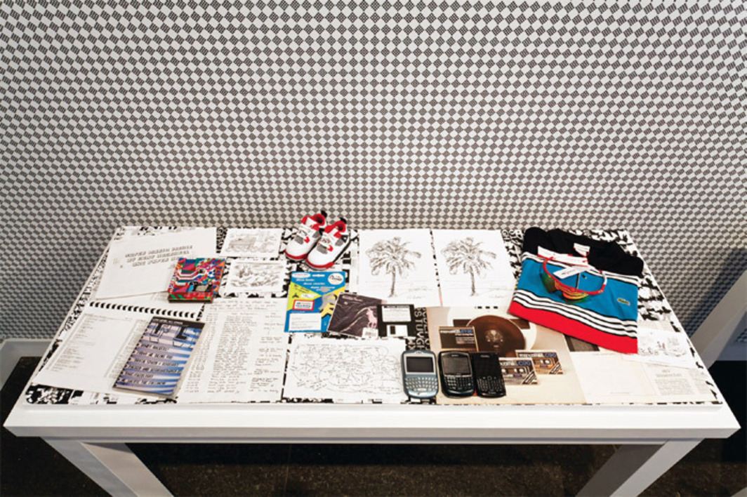 "View of ""Cory Arcangel,"" 2012. Foreground: selection from the artist's archive, 2002–12. Background: Infinite Fill, 2004."