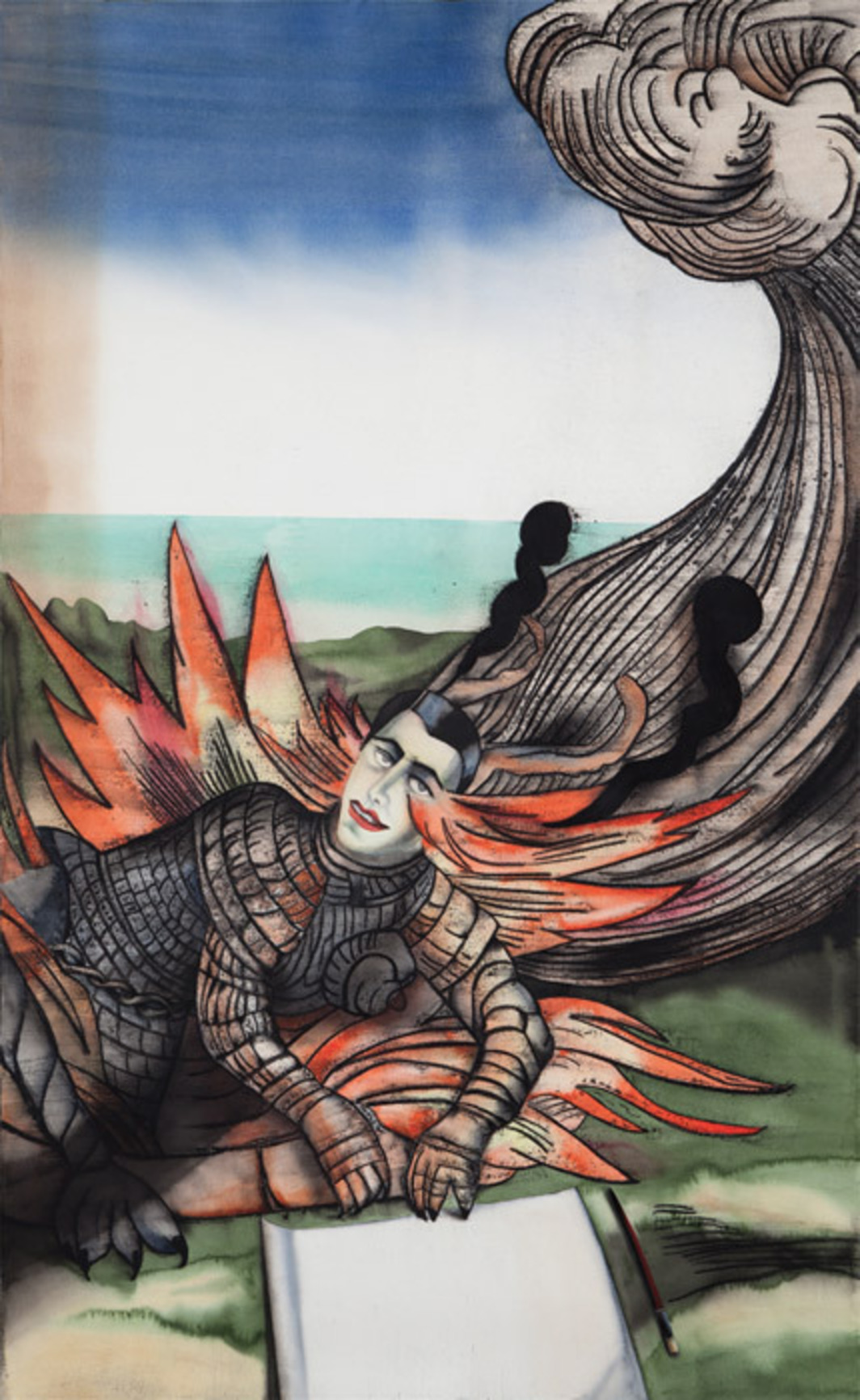 "Anju Dodiya, Judgement Day, 2012, watercolor, charcoal, and pastel on paper, 72 x 45""."