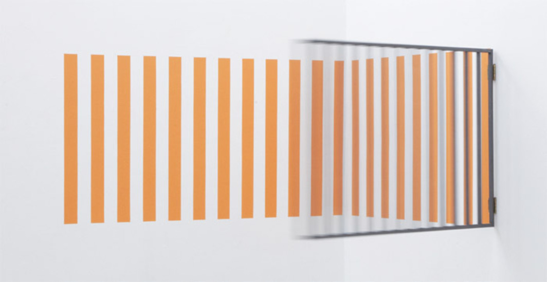 "Daniel Medina, Reja naranja (Orange Bars), 2012, metal, vinyl paint, 35 3/8 x 74 3/4 x 74 3/4""."