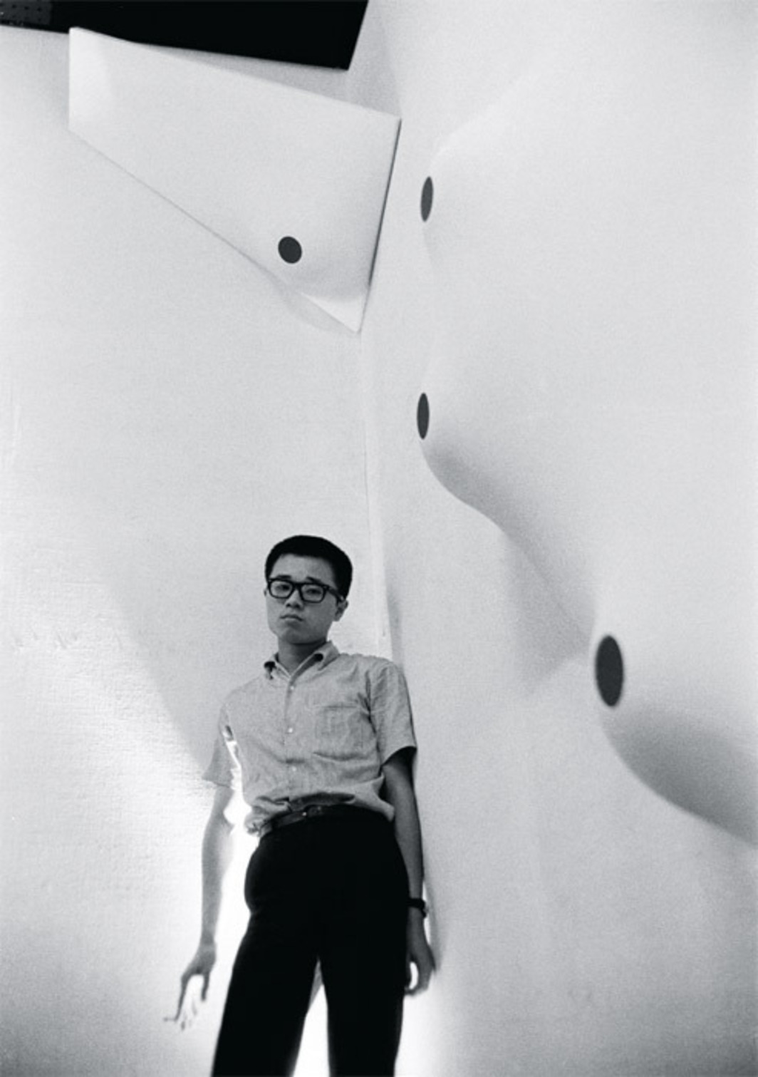 "Norio Imai with works from his series ""White Ceremony,"" 1966–2012, during a solo exhibition at the Gutai Pinacotheca, Osaka, Japan, 1966."