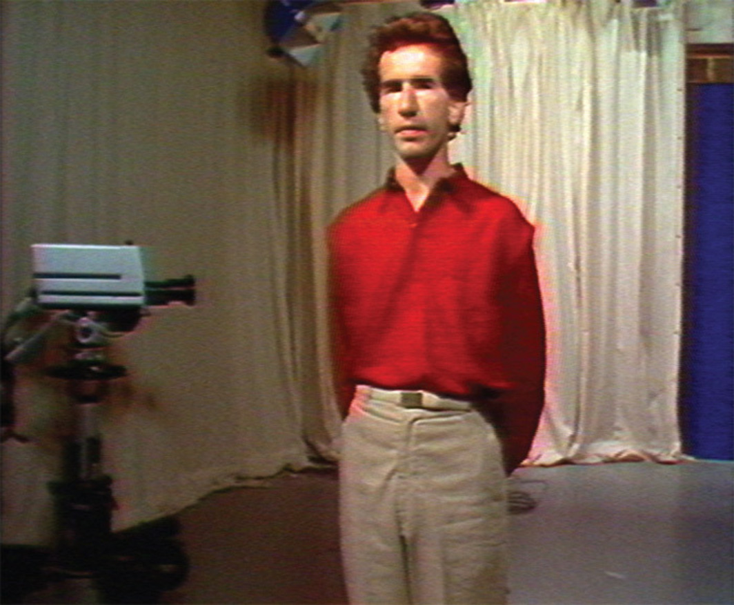 "Stuart Marshall, The Love Show (parts 1–3), 1980, still from a color video transferred to DVD. From ""Polytechnic."""