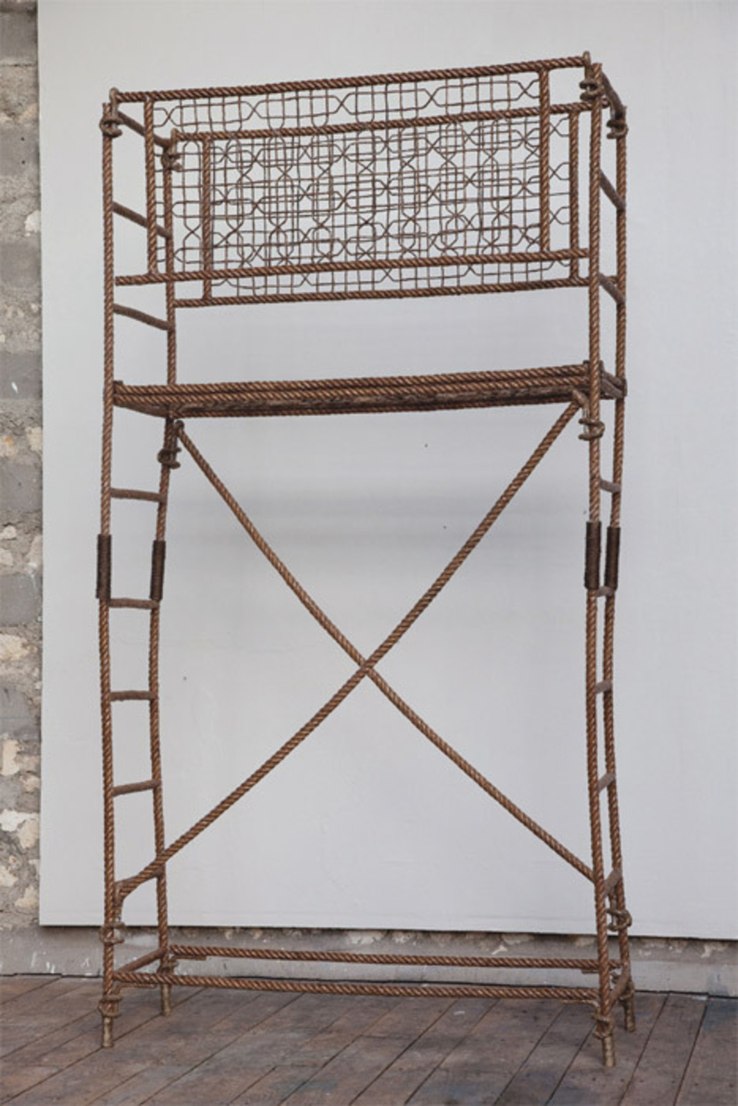 "Yazid Oulab, Échafaudage (Scaffolding), 2009, rope and resin, approx. 118 1/8 x 61 3/8 x 20 7/8""."