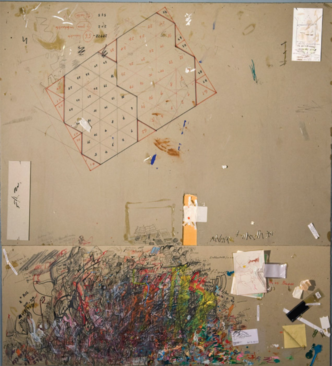 "Dieter Roth and Björn Roth, Matte vom Bürotisch, Hegenheimerstrasse, Basel, 1996–97, acrylic, oil, graphite, ink, and collage on paper mounted on wood, 50 3/4 x 45 5/8 x 1 5/8""."