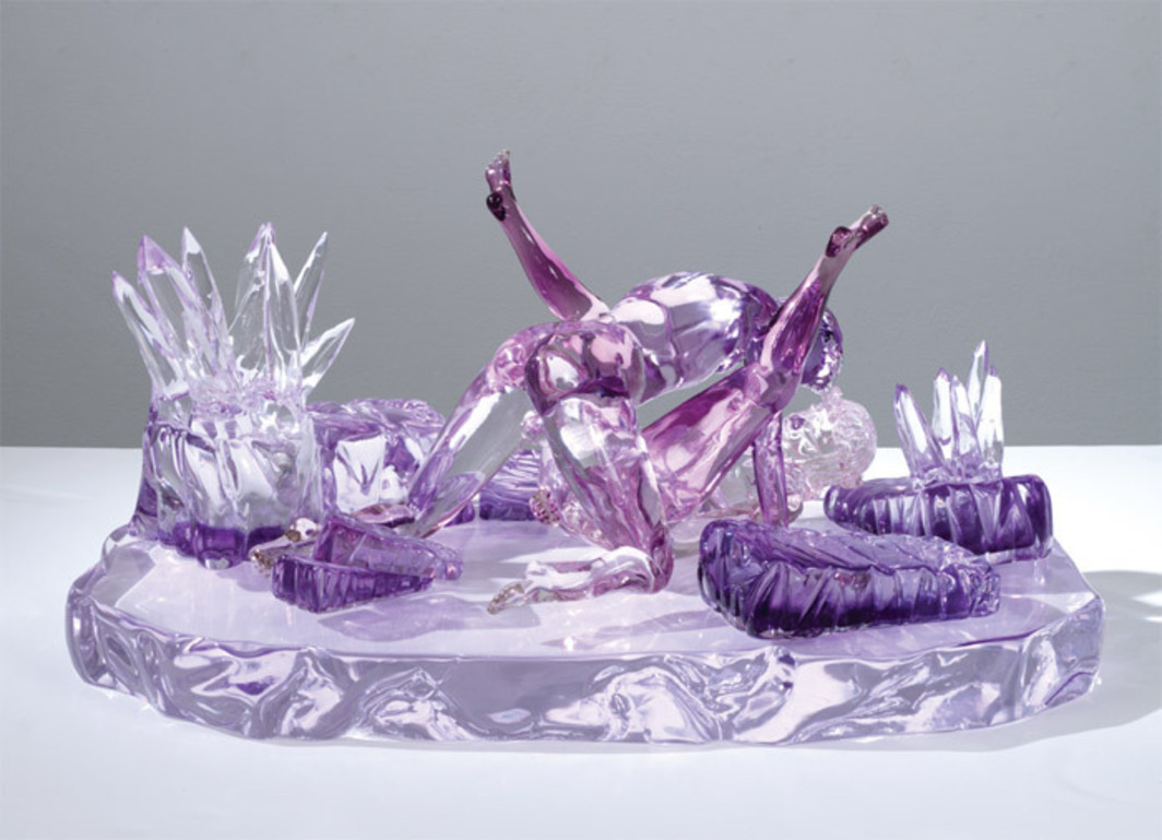 "Jeff Koons, Violet Ice (Kama Sutra), 1991, colored glass, 13 x 27 1/4 x 16 1/2"". From the series ""Made in Heaven,"" 1990–91."