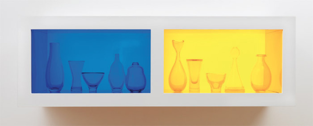"Josiah McElheny, Blue Italian Modernism and Yellow Czech Modernism, 2010, handblown glass with flashed color, extruded colored glass filters, LED electric lighting, painted wood display structure, 21 x 65 x 18 3/4""."
