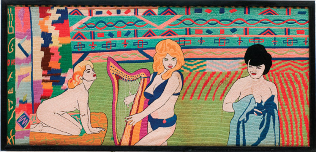 "Ted Willcox, Unitled (Pin-Ups), ca. 1940–60, tapestry, 21 1/4 x 45 5/8"". From ""Exhibition #3."""