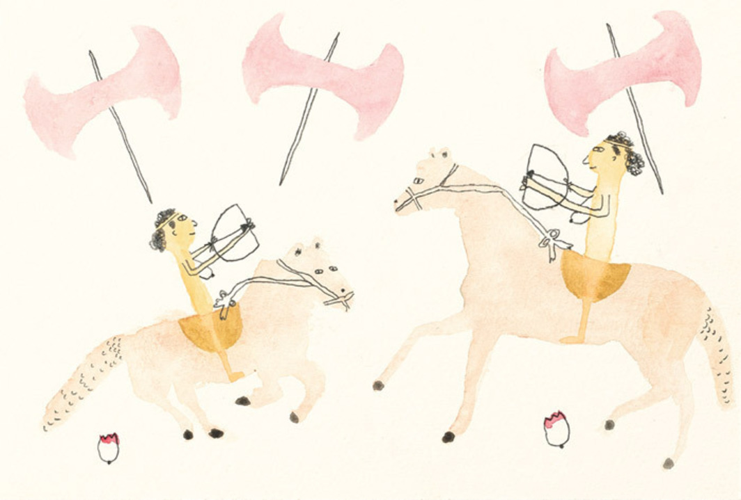 "Kim Kelly, Two amazons together on horseback with labryses all around, 2012, watercolor and pencil, 6 x 9"". From ""Herstory Inventory: 100 Feminist Drawings by 100 Artists,"" 2012"