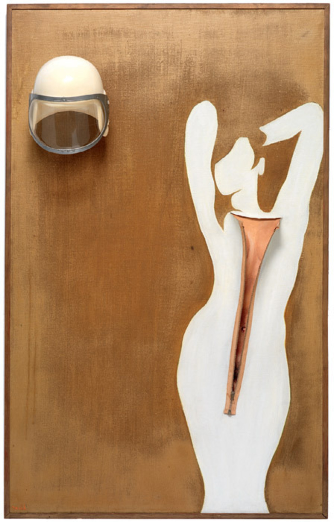 "Evelyne Axell, Valentine, 1966, oil on canvas, gold leaf spray paint, zipper, helmet, 52 3/8 x 32 5/8""."
