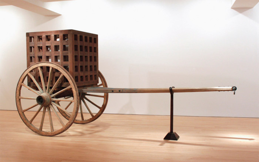 "Martin Puryear, The Load, 2012, wood, steel, glass, 7' 7"" x 15' 5"" x 6' 2""."
