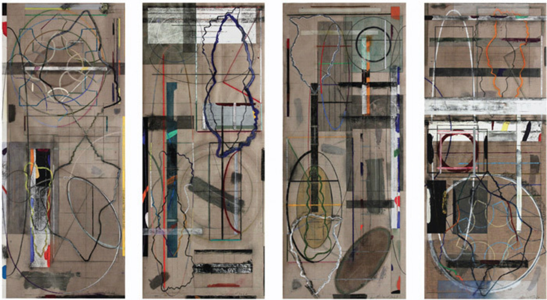 "David Rabinowitch, Birth of Romanticism Drawings: Monumental Quatrefoil Diffraction (Quartet for Carrie Lynn and Joseph Haydn), 2010, oil pastel, acrylic, pencil, paper, and collage on Belgian linen, 7' 1/2"" x 12'."
