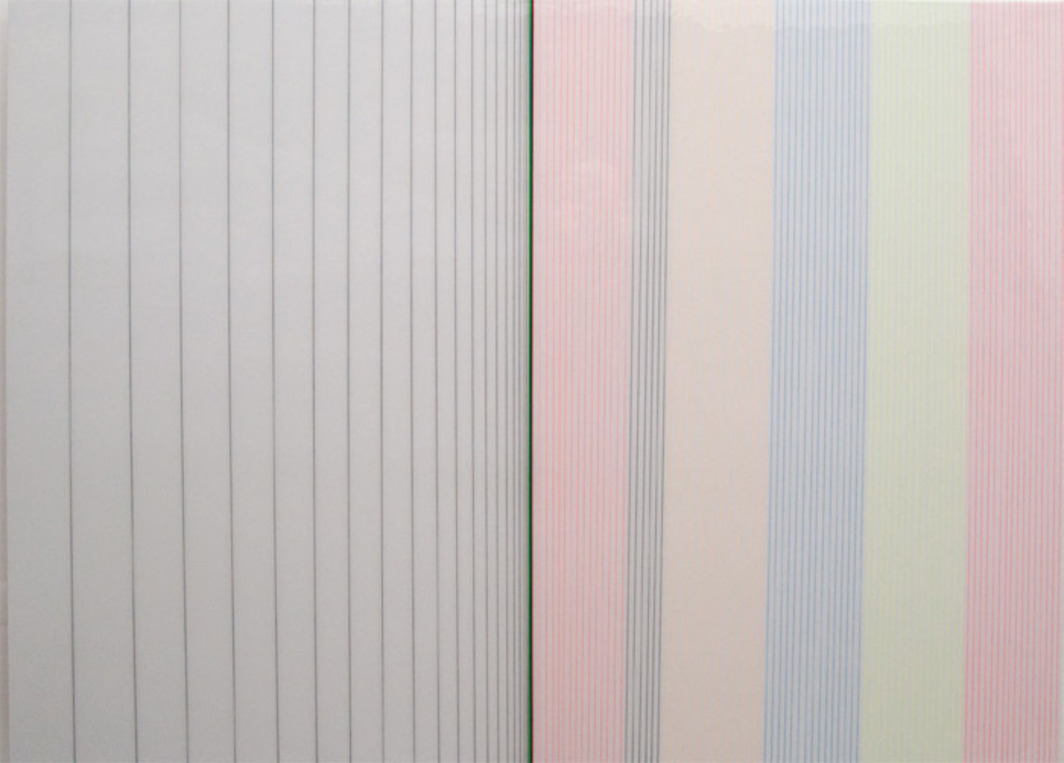 "Brian Wills, Untitled (Five Flavors), 2010, enamel, rayon thread, linear polyurethane on wood, 36 x 48""."