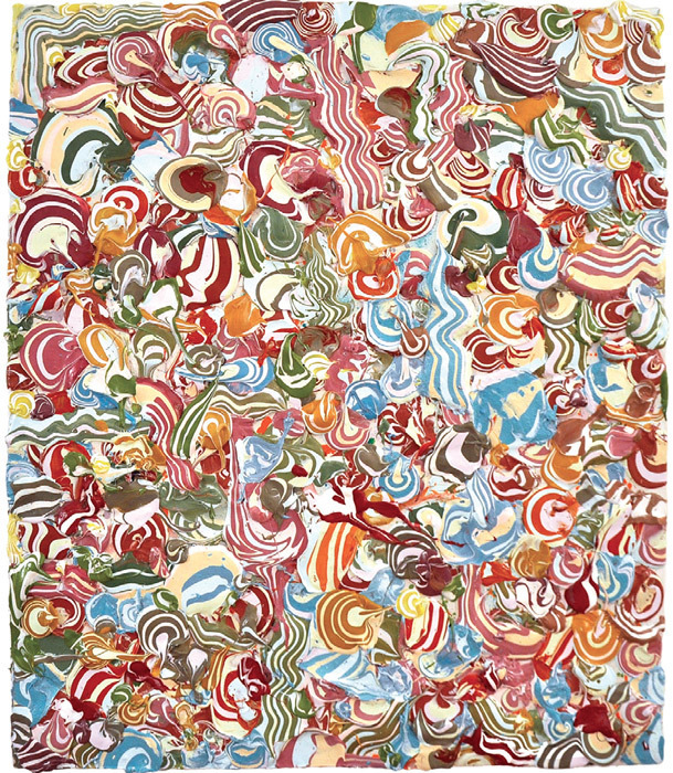 "Charles Andresen, Frozen Jesters, 2011, acrylic on canvas, 44 x 38""."
