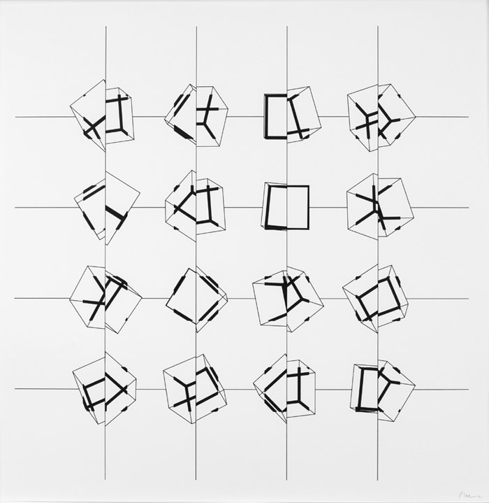 "Manfred Mohr, P-197pz, 1977–87, ink on paper, 29 x 29""."