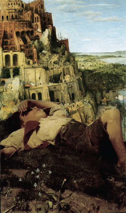 "John Ashbery, Promontory, 2010, collage, digitized print, 13 x 7 3/4""."