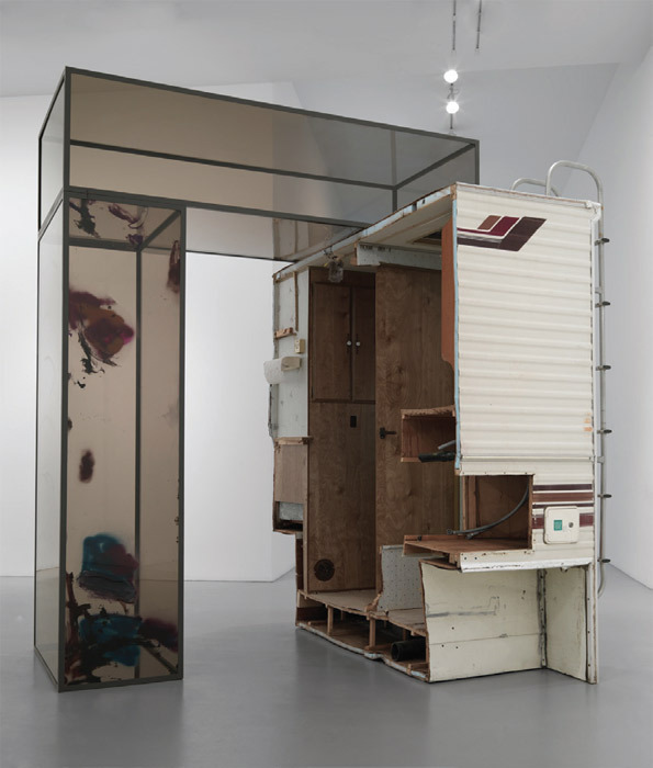 "Sarah Braman, Good Morning (November), 2011, camper chunk, Plexiglas, steel, paint, 109 x 85 x 94 3/4""."